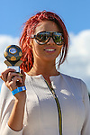 London, UK on Sunday 31st August, 2014. Amy Childs collects a trophy during the Soccer Six charity celebrity football tournament at Mile End Stadium, London.