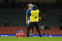 Italy&rsquo;s Michela Sillari receives treatment for an injury <br /> <br /> Photographer Ian Cook/CameraSport<br /> <br /> 2018 Women's Six Nations Championships Round 4 - Wales Women v Italy Women - Sunday 11th March 2018 - Principality Stadium - Cardiff<br /> <br /> World Copyright &copy; 2018 CameraSport. All rights reserved. 43 Linden Ave. Countesthorpe. Leicester. England. LE8 5PG - Tel: +44 (0) 116 277 4147 - admin@camerasport.com - www.camerasport.com