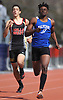 Maurice Teachey of Malverne runs to victory in the open 400 meter dash during the Dennis Walker Classic at Huntington High School on Saturday, April 15, 2017. He won with a time of 50.66.