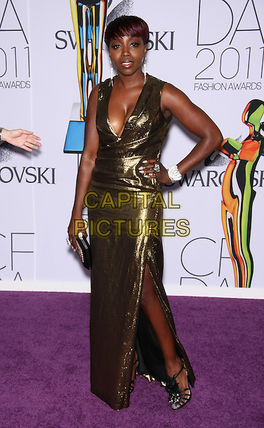 ESTELLE (ESTELLE FANTA SWARAY).The 2011 CFDA (Council of Fashion Designers of America) Fashion Awards at Alice Tully Hall - Lincoln Center, New York, NY, USA..June 6th, 2011.full length gold metallic dress sleeveless cleavage slit split  hand on hip.CAP/LNC/TOM.©TOM/LNC/Capital Pictures.