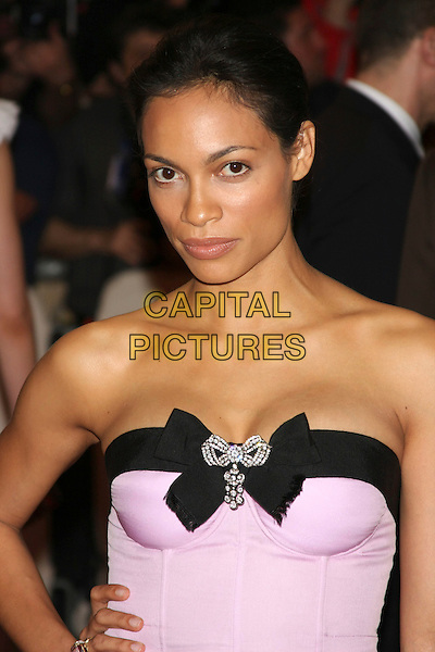 "ROSARIO DAWSON .attending the Metropolitan Museum of Art's Costume Institute Gala ""American Woman: Fashioning A National Identity"" held at the Metropolitan Museum of Art, New York, NY, USA, May 3rd, 2010..portrait headshot  pink strapless bodice bustier black trim corset cleavage  hand on hip half length hair up  no  make-up natural                                .CAP/LNC/TOM.©LNC/Capital Pictures."
