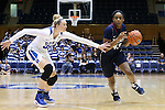 13 November 2016: Penn's Michelle Nwokedi (43) and Duke's Erin Mathias (35). The Duke University Blue Devils hosted the University of Pennsylvania Quakers at Cameron Indoor Stadium in Durham, North Carolina in a 2016-17 NCAA Division I Women's Basketball game. Duke defeated Penn 68-55.