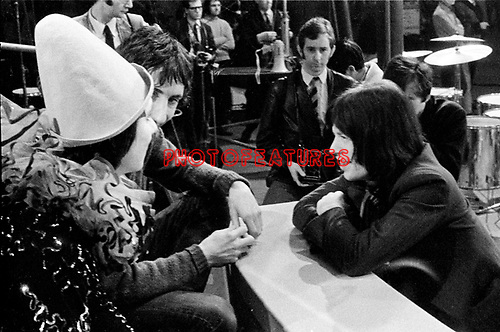 "Rolling Stones 1968 Mick Jagger with Keith Moon and Pete Townshen at ""Rock and Roll Circus""..© Chris Walter.."