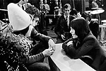 """Rolling Stones 1968 Mick Jagger with Keith Moon and Pete Townshen at """"Rock and Roll Circus""""..© Chris Walter.."""