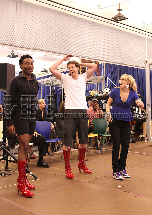 Billy Porter & Stark Sands & Annaleigh Ashford  performing in the Sneek Peek Press Preview of the New Broadway Musical 'Kinky Boots' at the New 42nd Street Studios in New York City on September 14, 2012.