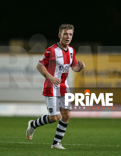 Matt Jay of Exeter City during the The Checkatrade Trophy match between Oxford United and Exeter City at the Kassam Stadium, Oxford, England on 30 August 2016. Photo by Andy Rowland / PRiME Media Images.