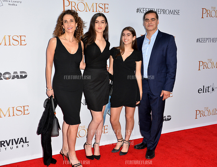 Melina Kanakaredes, Peter Constantinides, Karina Constantinides, Zoe Constantinides at the premiere for &quot;The Promise&quot; at the TCL Chinese Theatre, Hollywood. Los Angeles, USA 12 April  2017<br /> Picture: Paul Smith/Featureflash/SilverHub 0208 004 5359 sales@silverhubmedia.com