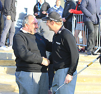 Chubby Chandler and David Howell (ENG) during the final round of the Alfred Dunhill links Championship Old Course, St Andrews, Fife, Scotland.<br /> Picture Fran Caffrey www.golffile.ie