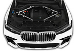 Car stock 2019 BMW X7 40i 5 Door SUV engine high angle detail view