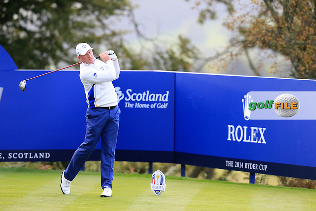 Jamie Donaldson (EUR) during the Saturday morning Fourballs of the 2014 Ryder Cup at Gleneagles. The 40th Ryder Cup is being played over the PGA Centenary Course at The Gleneagles Hotel, Perthshire from 26th to 28th September 2014.: Picture Eoin Clarke, www.golffile.ie / www.golftouri,ages.com: \27/09/2014\