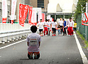 September 30, 2017, Tokyo, Japan - Special Olympics Nippon Foundation president Yuko Arimori waits the last runner of a little girl at a charity run for the Special Olympics at Toyota's showroom Mega Web in Tokyo on Saturday, September 30, 2017. Some 1,800 people participated the charity event as Japan's Special Olympic Games will be held in Aichi in 2018.   (Photo by Yoshio Tsunoda/AFLO) LWX -ytd-