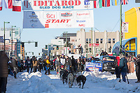 Ketil Reitan and team leave the ceremonial start line with an Iditarider and handler at 4th Avenue and D street in downtown Anchorage, Alaska on Saturday March 4th during the 2017 Iditarod race. Photo © 2017 by Brendan Smith/SchultzPhoto.com.