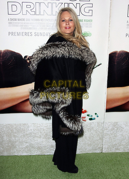 "BEVERLY D'ANGELO.Premiere of HBO's Documentary ""Wishful Drinking"" based on Carrie Fisher's tale of her life held at the Linwood Dunn Theater at the Pickford Center for Motion Study, Hollywood, California, USA..December 6th, 2010.full length black grey gray fur trim cape shawl wrap side.CAP/ADM/TB.©Tommaso Boddi/AdMedia/Capital Pictures."