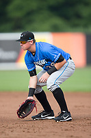 Hudson Valley Renegades first baseman Brendan McKay (38) on defense against the Aberdeen IronBirds at Leidos Field at Ripken Stadium on July 27, 2017 in Aberdeen, Maryland.  The Renegades defeated the IronBirds 2-0 in game one of a double-header.  (Brian Westerholt/Four Seam Images)