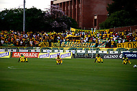 NEIVA-COLOMBIA, 05-10-2019: Jugadores de Atlético Huila protestan antes de partido entre Atlético Huila y Envigado F. C. de la fecha 15 por la Liga Águila II 2019 en el estadio Guillermo Plazas Alcid en la ciudad de Neiva. / Players of Atletico Huila protest prior a match between Atletico Huila and Envigado F. C. of the 15th date for the Aguila Leguaje II 2019 at the Guillermo Plazas Alcid Stadium in Neiva city. Photo: VizzorImage  / Sergio Reyes / Cont.