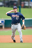 Third baseman Mat Gamel (17) of the Huntsville Stars makes a throw to first base at the Baseball Grounds in Jacksonville, FL, Wednesday June 11, 2008.