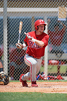 GCL Phillies center fielder Kevin Markham (5) follows through on a swing during a game against the GCL Tigers East on July 25, 2017 at TigerTown in Lakeland, Florida.  GCL Phillies defeated the GCL Tigers East 4-1.  (Mike Janes/Four Seam Images)