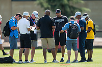 STANFORD, CA -- August 12, 2018. <br /> David Shaw with pro scouts during 2018 Stanford Cardinal Football practice at the Elliott Practice Fields.