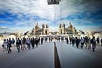 Marseilles - France- 06 October 2013 -- The Cathérdrale de la Major at the Old Port of Marseilles rflected through the walls of the Museum Galerie de la Méditerranée . -- PHOTO: Juha ROININEN / EUP-IMAGES