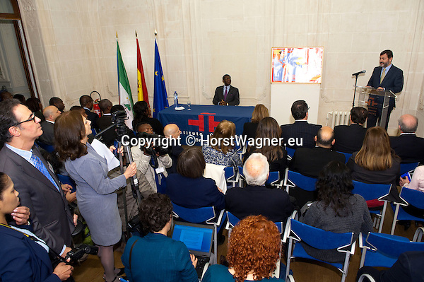 Brussels-Belgium - April 01, 2014 -- Teodoro Obiang Nguema Mbasogo (le), President of Equatorial Guinea since 1979, following a controversial invitation by Spanish Instituto Cervantes to hold a speech at its Brussels' premises; here, welcomed by Rafael Rodríguez-Ponga Salamanca (ri), Secretario General del Instituto Cervantes -- Photo: © HorstWagner.eu