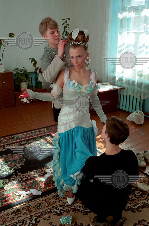 Preparations for the 2003 Miss Spring Beauty Contest at a women's penal colony near Novosibirsk.