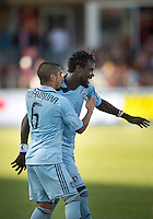 18 August 2012: Sporting KC forward Kei Kamara #23 celebrates his goal with Sporting KC midfielder Paulo Nagamura #6 during an MLS game between Sporting Kansas City and Toronto FC at BMO Field in Toronto, Ontario Canada..Sporting Kansas City won 1-0.