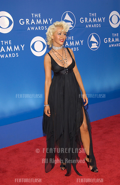 Singer CHRISTINA AGUILERA at the 2002 Grammy Awards in Los Angeles.
