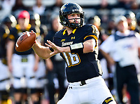 Baltimore, MD - OCT 14, 2017: Towson Tigers quarterback Ryan Stover (16) looks to throw down field during game between Towson and Richmond at Johnny Unitas Stadium in Baltimore, MD. The Spiders defeated the Tigers 23-3. (Photo by Phil Peters/Media Images International)