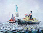 "New York Central Railroad tugboat near the Statue of Liberty in New York harbor. Oil on canvas, 12"" x 9""."