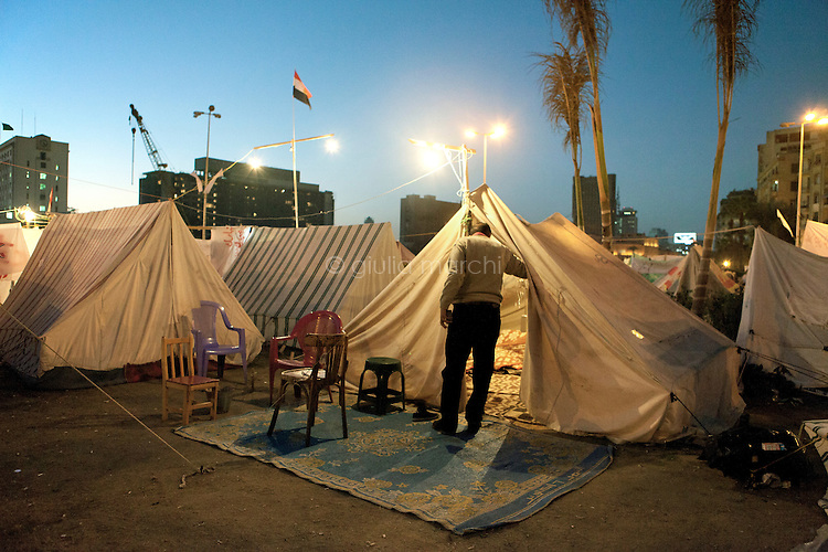 EGYPT / Cairo / The anti-Morsi protesters' camp in the middle of Tahrir Square in Cairo.  <br /> <br /> © Giulia Marchi