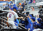 Daisuke Matsuzaka (Mets),<br /> SEPTEMBER 14, 2013 - MLB :<br /> Daisuke Matsuzaka of the New York Mets gets a fist bump from his teammate in the dugout after the seventh inning during the second game of a Major League Baseball doubleheader against the Miami Marlins at Citi Field in Flushing, New York, United States. (Photo by AFLO)