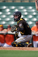Pittsburgh Pirates catcher Jason Delay (64) during a Florida Instructional League game against the Baltimore Orioles on September 22, 2018 at Ed Smith Stadium in Sarasota, Florida.  (Mike Janes/Four Seam Images)