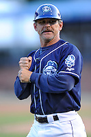 Asheville Tourists manager Joe Mikulik #20 during a game against the Lexington Legends at McCormick Field on May 5, 2012 in Asheville, North Carolina . The Legends defeated the Tourists 5-1. (Tony Farlow/Four Seam Images).