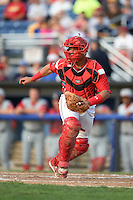 Batavia Muckdogs catcher Rodrigo Vigil (27) fields a throw during a game against the Lowell Spinners on July 18, 2014 at Dwyer Stadium in Batavia, New York.  Lowell defeated Batavia 11-2.  (Mike Janes/Four Seam Images)