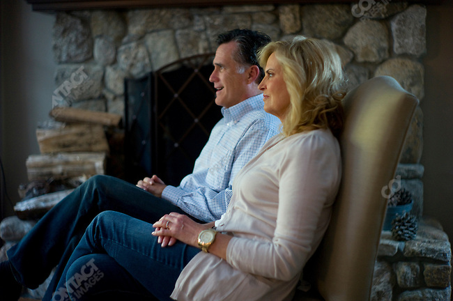 Former Gov. Mitt Romney with wife Anne, at home, Belmont, MA, USA, October 30, 2011