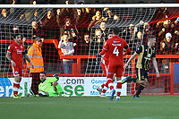 Rhys Healey (right) of MK Dons celebrates his goal in the first half and the third for his team during Crawley Town vs MK Dons, Sky Bet EFL League 2 Football at Broadfield Stadium on 3rd November 2018