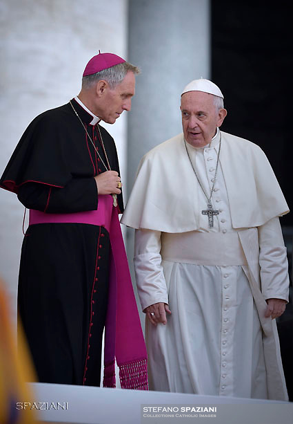 Pope Francis Monsignor Georg Gaenswein during of a weekly general audience at St Peter's square in Vatican, Wednesday, October. 17, 2018.