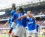 18.07.2019: Rangers v St Joseph's: Joe Aribo scores for Rangers and celebrates with Glen Kamara