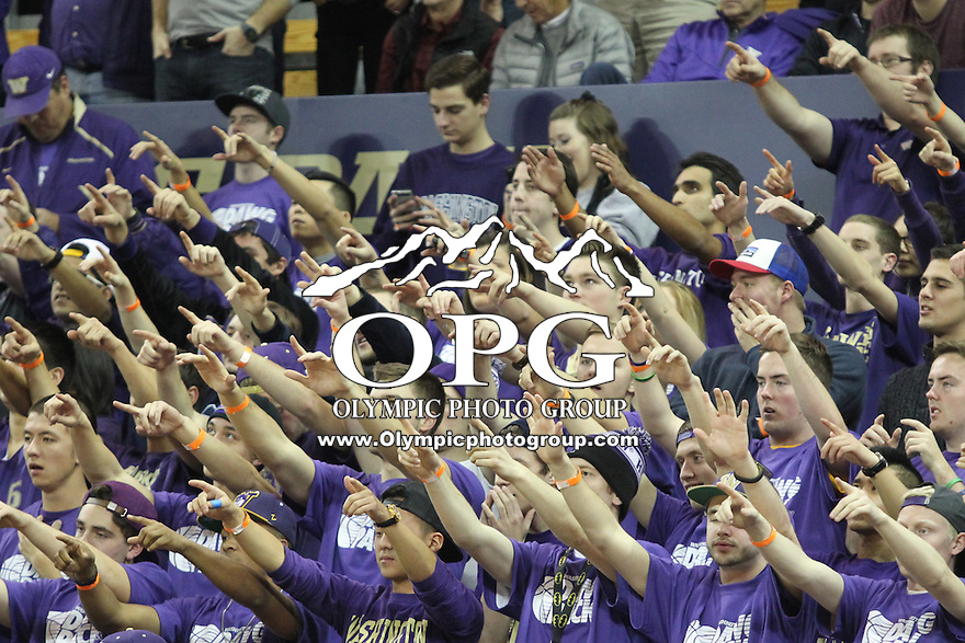 JAN 1, 2016:  Washington cheered on the Huskies during the game against UCLA.  Washington defeated #25 ranked UCLA 96-93 in double overtime at Alaska Airlines Arena in Seattle, WA.