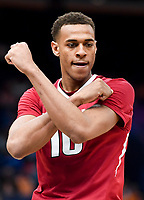 NWA Democrat-Gazette/CHARLIE KAIJO Arkansas Razorbacks forward Daniel Gafford (10) reacts during the Southeastern Conference Men's Basketball Tournament semifinals, Saturday, March 10, 2018 at Scottrade Center in St. Louis, Mo. The Tennessee Volunteers knocked off the Arkansas Razorbacks 84-66