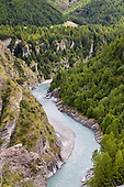 The Shotover river below Londonderry Terrace, Skippers, Queenstown Lakes District, Otago, South Island, New Zealand.