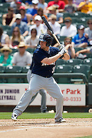 New Orleans Zephyrs first baseman Jordan Brown #35 at bat against the Round Rock Express in the Pacific Coast League baseball game on April 21, 2013 at the Dell Diamond in Round Rock, Texas. Round Rock defeated New Orleans 7-1. (Andrew Woolley/Four Seam Images).