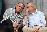 Former Vice President Al Gore and Senate Majority Leader Harry Reid talk at the 17th annual Lake Tahoe Summit conference at Sand Harbor, near Incline Village, Nev., on Monday, Aug. 19, 2013. <br />