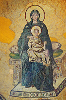 Byzantine mosaic of the Virgin and Child was the first of the post-iconoclastic mosaics inaugurated on 29 March 867 by Patriarch Photius and the emperors Michael III and Basil I.  Hagia Sophia, Istanbul, Turkey