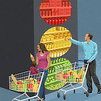 People shopping for food using traffic light label system ExclusiveImage