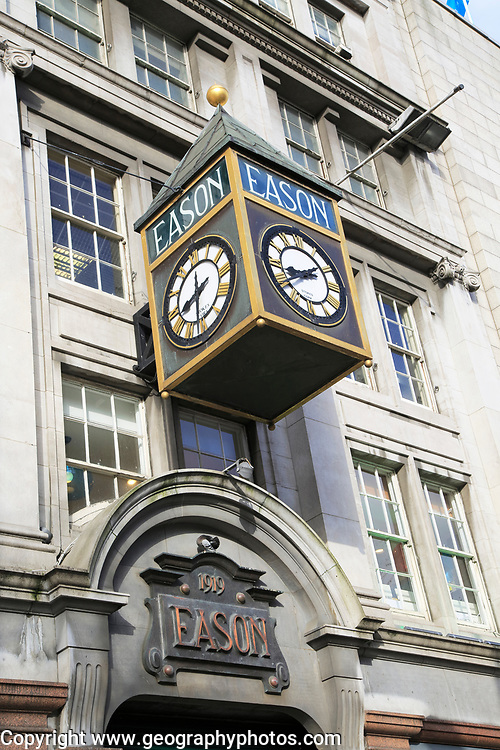 Eason shop clock, O'Connell street,  city of Dublin, Ireland, Irish Republic