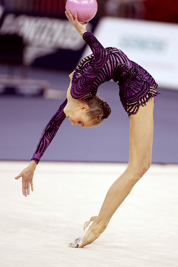 September 24, 2003; Budapest, Hungary; INNA ZHUKOVA of Belarus performs flexibility with ball at 2003 World Championships.