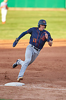 Bowling Green Hot Rods left fielder Beau Brundage (11) rounds third base during a Midwest League game against the Peoria Chiefs at Dozer Park on May 5, 2019 in Peoria, Illinois. Peoria defeated Bowling Green 11-3. (Zachary Lucy/Four Seam Images)