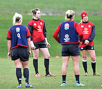 Guildford, England. Emily Scarratt of England Women's Sevens looks on during training for Sevens World Series in round three in Atlanta, USA. Surrey Sports Park on March 5, 2015 in Guildford, England.