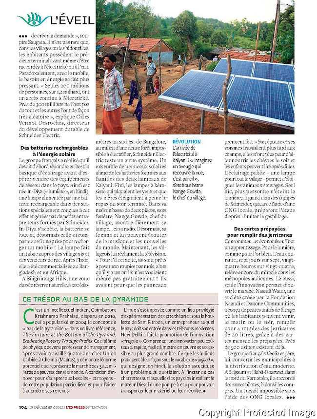 L'Express Magazine Paris: Bottom of Pyramid Markets in India L'Express Magazine Paris: Corporates Exploring Bottom of Pyramid Markets in India.